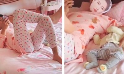 Dad Wears Wife's Pyjamas As He Minds Their Baby So That Their Child Doesn't Cry
