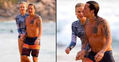 Nicole Kidman seen makeup free with husband Keith Urban on Sydney's beach.