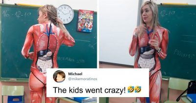 Teacher Dressed Up In A Full-Body Suit To Teach Anatomy Class