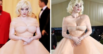 Billie Eilish Stuns In Old 'Barbie-Inspired' Hollywood Glam Peach Dress At Met Gala 2021